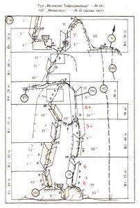 """За тази схема е използвано сканирано копие от """"Врачански скали - Алпийски маршрути"""" на Иван Масларов и Николай Петков от 1987 година."""